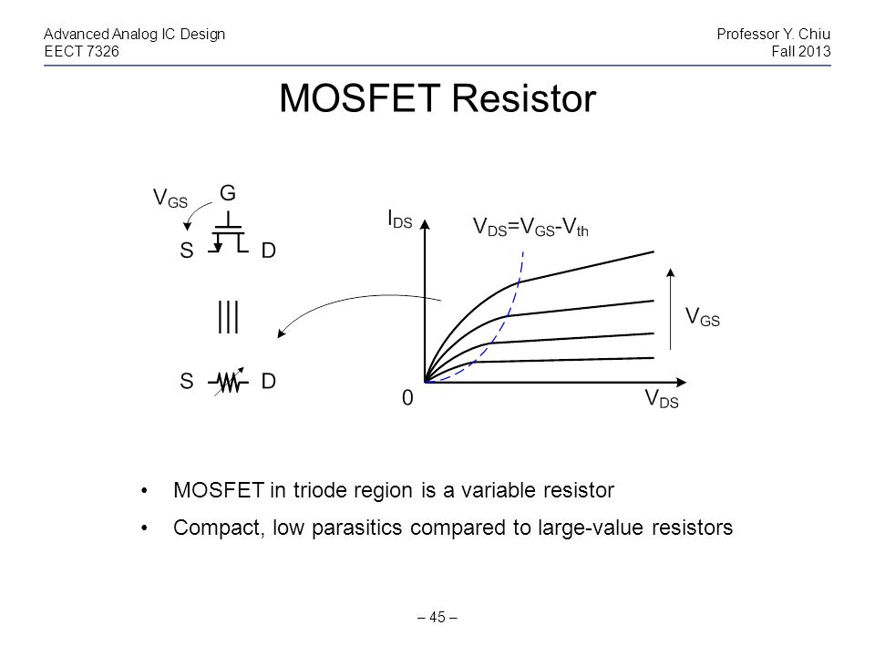 MOSFET Resistor – 45 – Advanced Analog IC DesignProfessor Y. Chiu EECT 7326Fall 2013 MOSFET in triode region is a variable resistor Compact, low paras