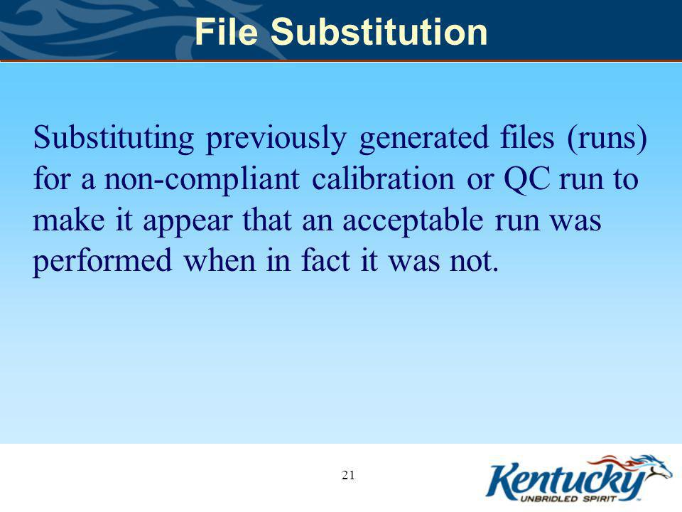 File Substitution Substituting previously generated files (runs) for a non-compliant calibration or QC run to make it appear that an acceptable run was performed when in fact it was not.