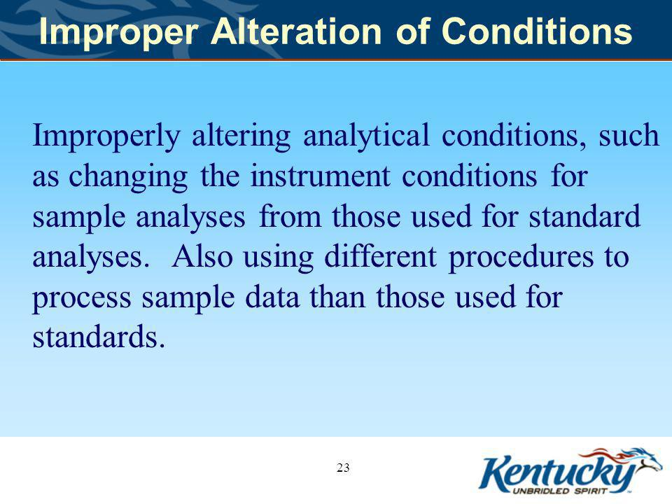 Improper Alteration of Conditions Improperly altering analytical conditions, such as changing the instrument conditions for sample analyses from those used for standard analyses.
