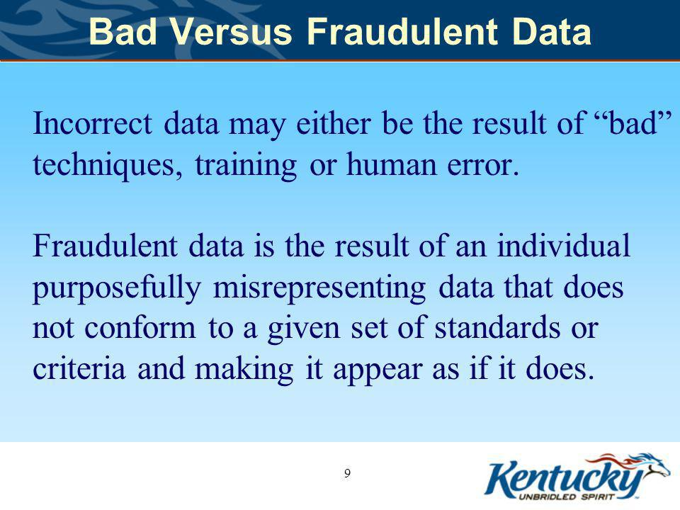 Bad Versus Fraudulent Data Incorrect data may either be the result of bad techniques, training or human error.