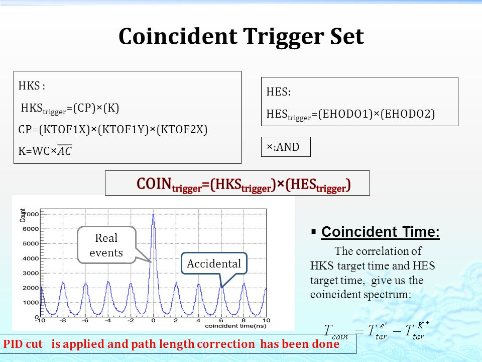 Coincident Time: The correlation of HKS target time and HES target time, give us the coincident spectrum: Real events Accidental PID cut is applied and path length correction has been done Coincident Trigger Set HES: HES trigger =(EHODO1)×(EHODO2) ×:AND