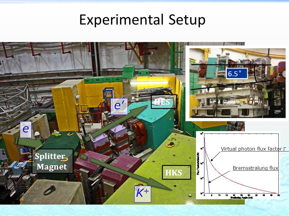 Experimental Setup Splitter Magnet HKS HES Bremsstralung flux Virtual photon flux factor K+K+ e e