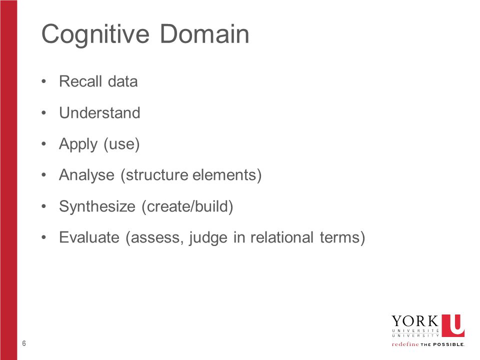 6 Cognitive Domain Recall data Understand Apply (use) Analyse (structure elements) Synthesize (create/build) Evaluate (assess, judge in relational ter