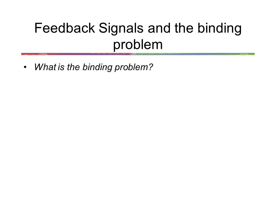 Feedback Signals and the binding problem What is the binding problem