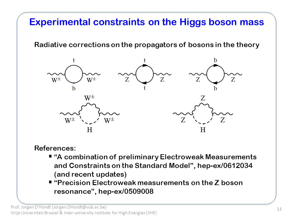 Experimental constraints on the Higgs boson mass Prof.