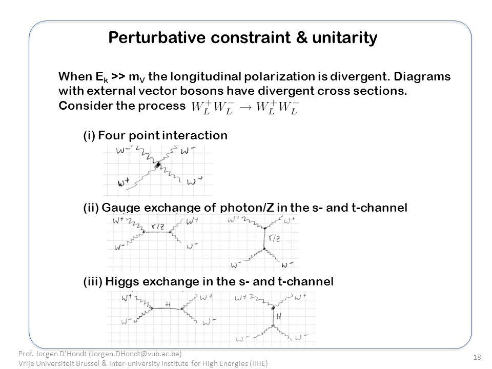 Perturbative constraint & unitarity When E k >> m V the longitudinal polarization is divergent.