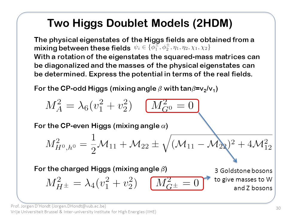 Two Higgs Doublet Models (2HDM) The physical eigenstates of the Higgs fields are obtained from a mixing between these fields With a rotation of the eigenstates the squared-mass matrices can be diagonalized and the masses of the physical eigenstates can be determined.