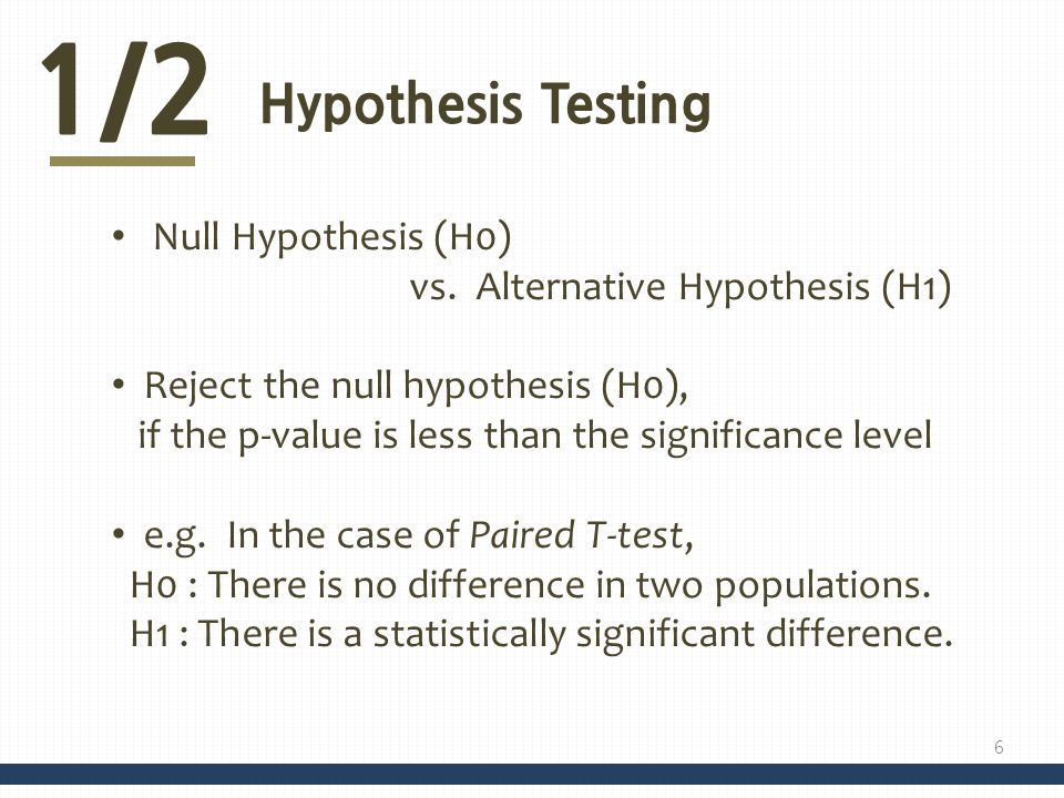 1/2 Hypothesis Testing Null Hypothesis (H0) vs. Alternative Hypothesis (H1) Reject the null hypothesis (H0), if the p-value is less than the significa