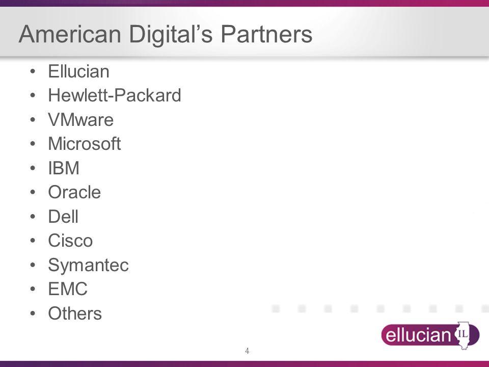 4 American Digitals Partners Ellucian Hewlett-Packard VMware Microsoft IBM Oracle Dell Cisco Symantec EMC Others