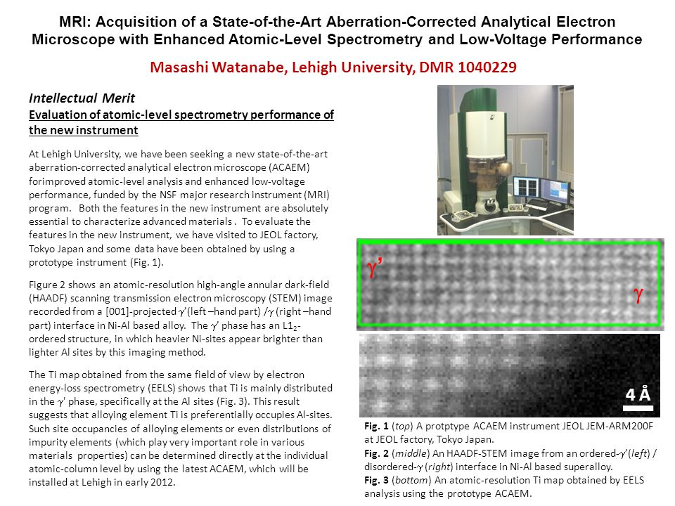 MRI: Acquisition of a State-of-the-Art Aberration-Corrected Analytical Electron Microscope with Enhanced Atomic-Level Spectrometry and Low-Voltage Performance Broader Impact Development of an automated aberration-tuning method on an oriented crystalline specimen When operating an aberration-corrected STEM, it is essential to tune a corrector system, which requires an amorphous-based standard specimen.