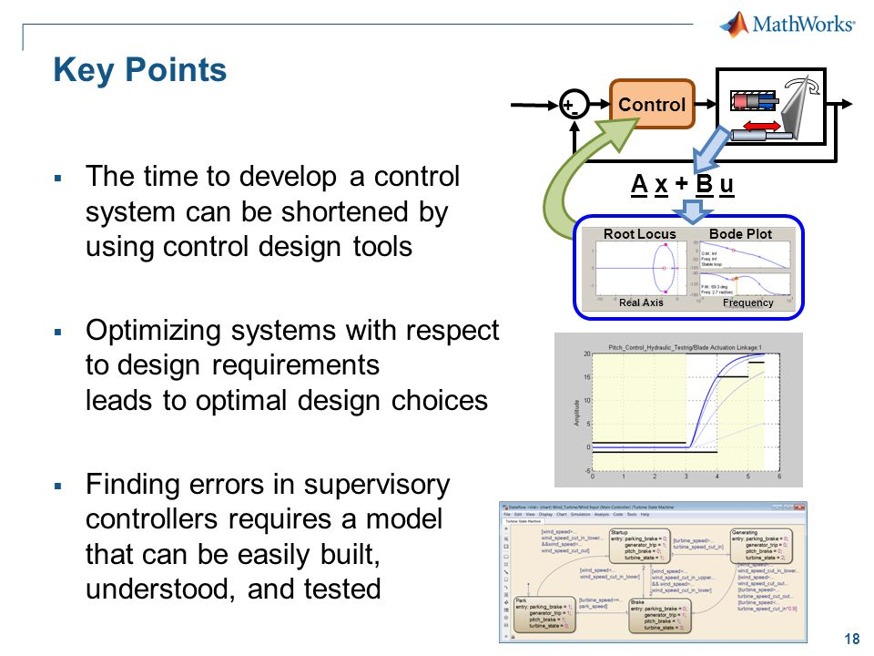 18 Key Points The time to develop a control system can be shortened by using control design tools Optimizing systems with respect to design requirements leads to optimal design choices Finding errors in supervisory controllers requires a model that can be easily built, understood, and tested Control + - A x + B u Root LocusBode Plot Real AxisFrequency