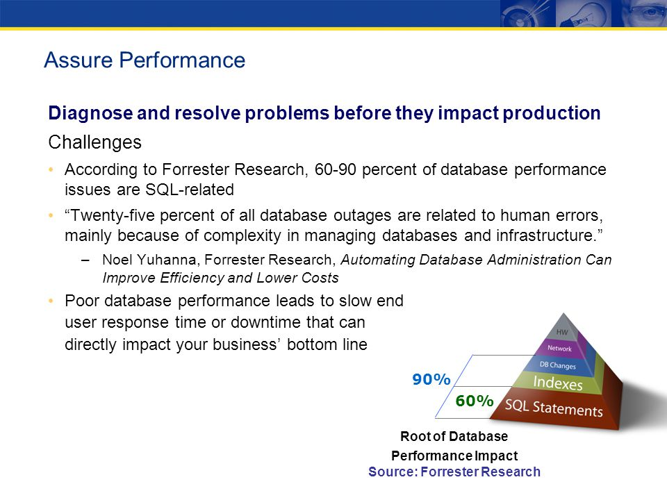 Diagnose and resolve problems before they impact production Challenges According to Forrester Research, 60-90 percent of database performance issues are SQL-related Twenty-five percent of all database outages are related to human errors, mainly because of complexity in managing databases and infrastructure.
