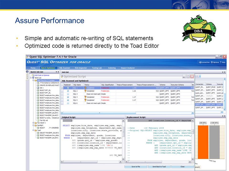 Assure Performance Simple and automatic re-writing of SQL statements Optimized code is returned directly to the Toad Editor