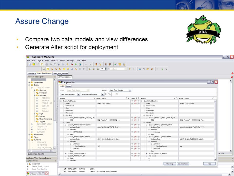 Assure Change Compare two data models and view differences Generate Alter script for deployment