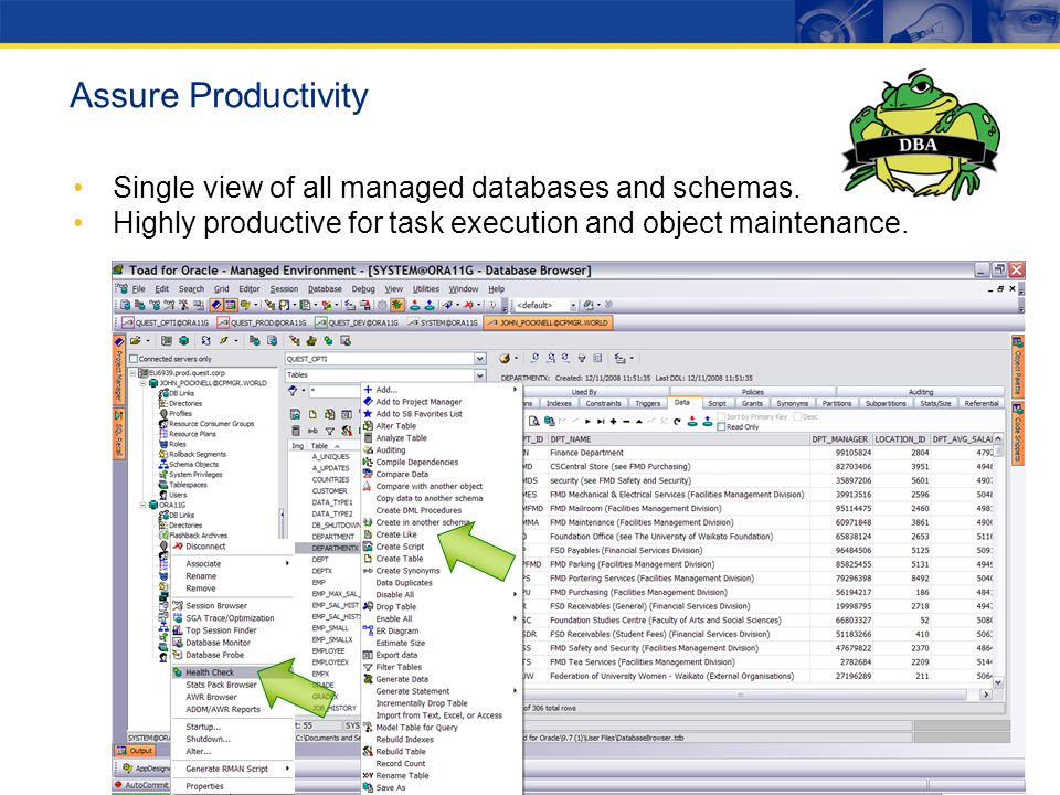 Single view of all managed databases and schemas. Highly productive for task execution and object maintenance. Assure Productivity