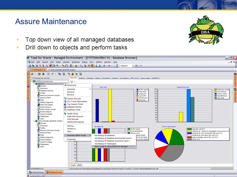 Top down view of all managed databases Drill down to objects and perform tasks Assure Maintenance