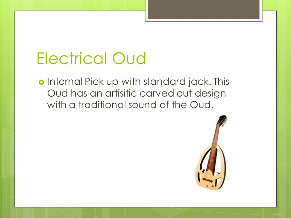 Electrical Oud Internal Pick up with standard jack.