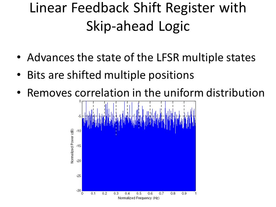 Linear Feedback Shift Register with Skip-ahead Logic Advances the state of the LFSR multiple states Bits are shifted multiple positions Removes correl