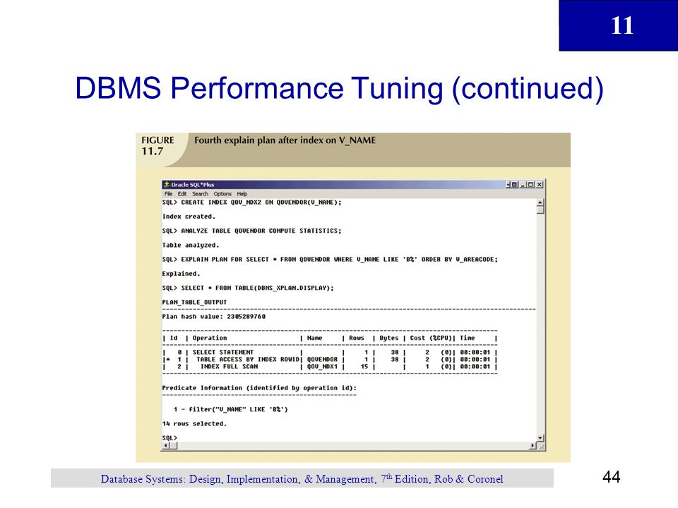 11 44 Database Systems: Design, Implementation, & Management, 7 th Edition, Rob & Coronel DBMS Performance Tuning (continued)