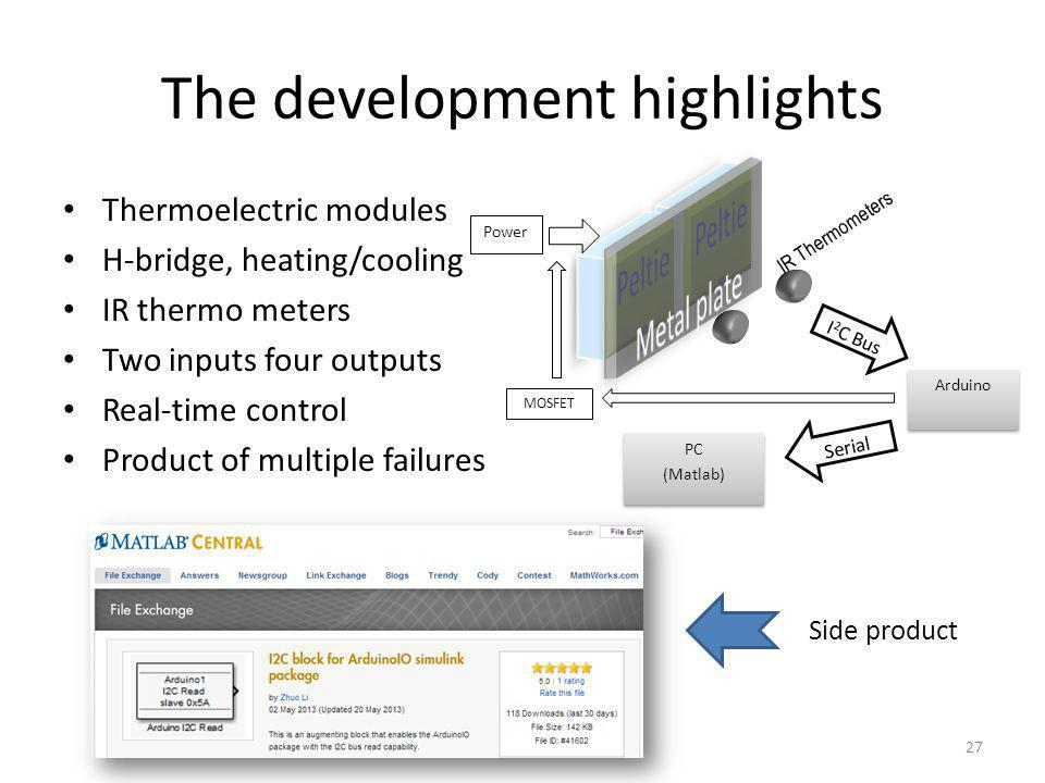The development highlights Thermoelectric modules H-bridge, heating/cooling IR thermo meters Two inputs four outputs Real-time control Product of multiple failures 27 Power I 2 C Bus Arduino Serial PC (Matlab) PC (Matlab) IR Thermometers MOSFET Side product