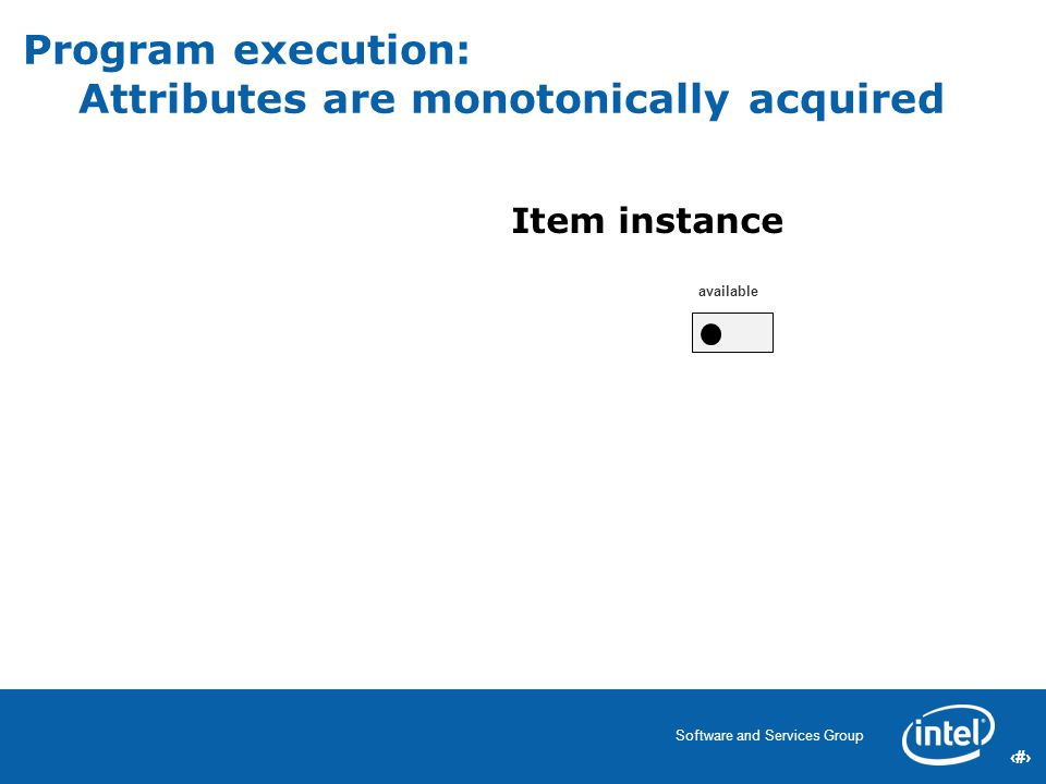 40 Software and Services Group 40 Program execution: Attributes are monotonically acquired available Item instance