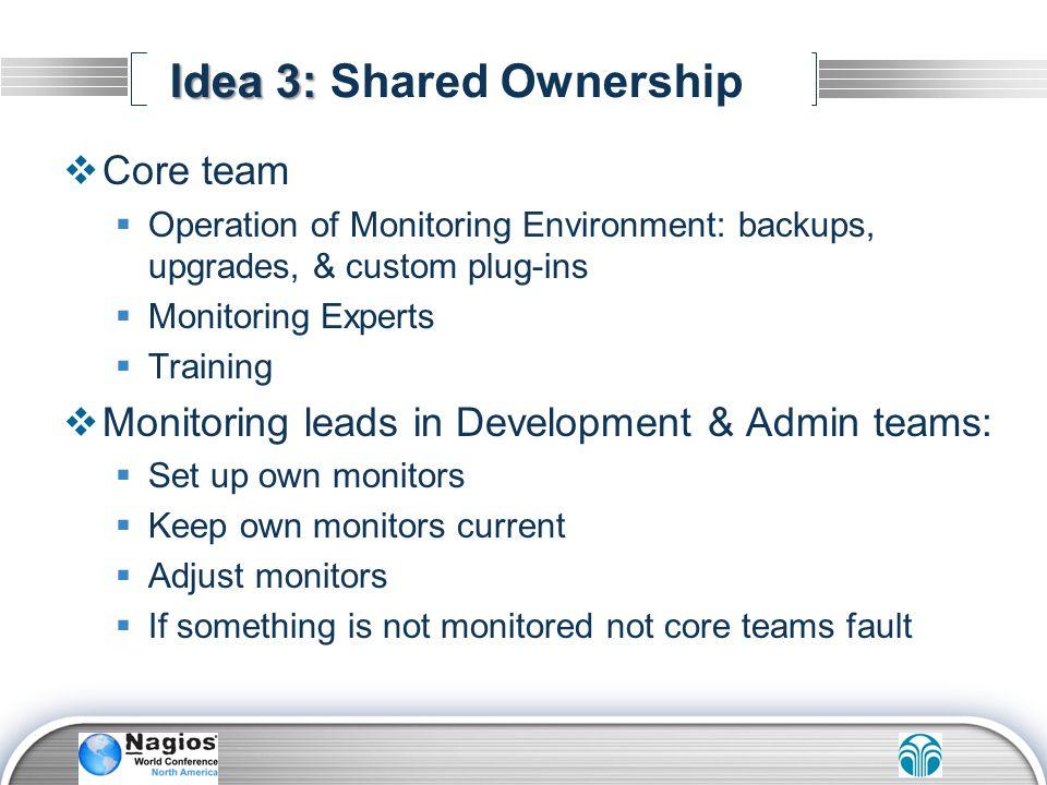 Idea 3: Idea 3: Shared Ownership Core team Operation of Monitoring Environment: backups, upgrades, & custom plug-ins Monitoring Experts Training Monit