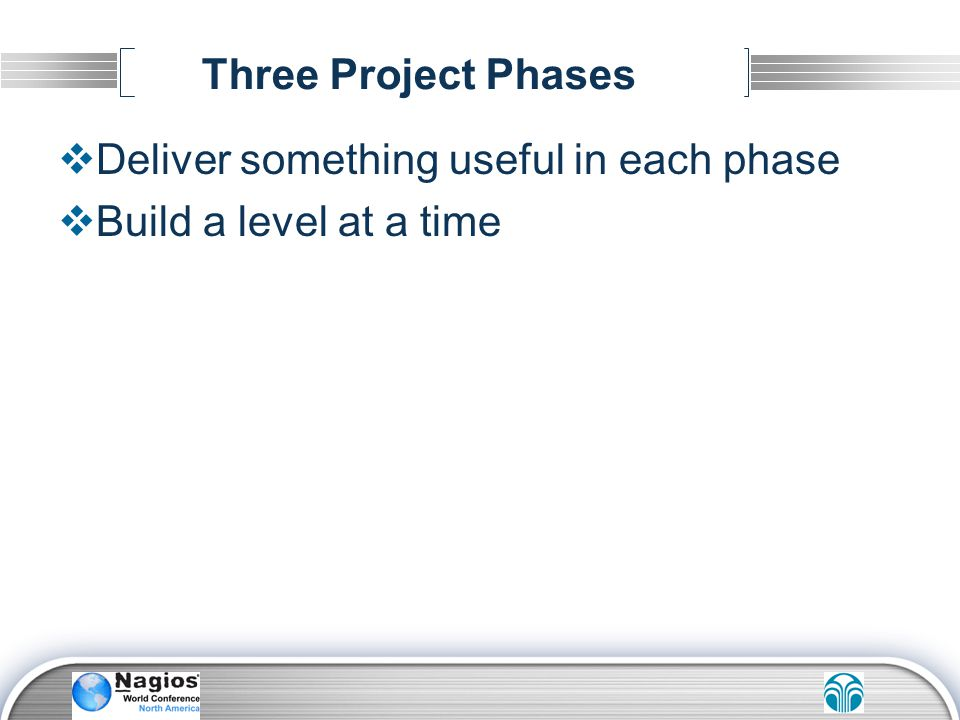 Three Project Phases Deliver something useful in each phase Build a level at a time