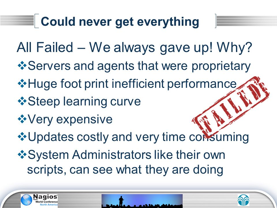 Could never get everything All Failed – We always gave up! Why? Servers and agents that were proprietary Huge foot print inefficient performance Steep
