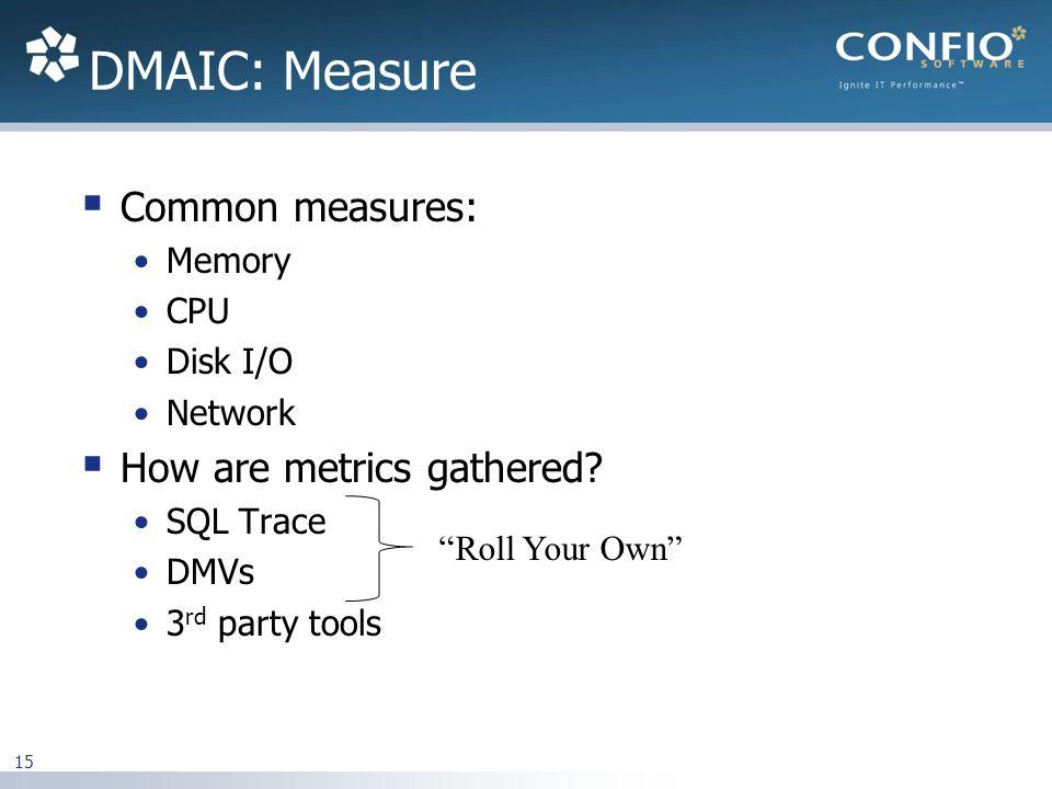 DMAIC: Measure Common measures: Memory CPU Disk I/O Network How are metrics gathered.
