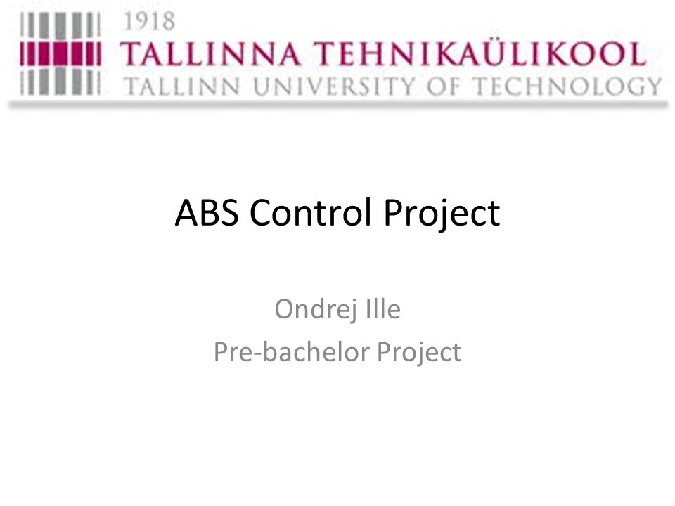 ABS Control Project Ondrej Ille Pre-bachelor Project