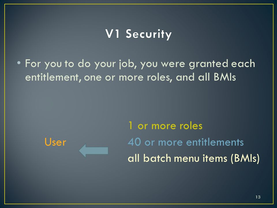 For you to do your job, you were granted each entitlement, one or more roles, and all BMIs 1 or more roles User40 or more entitlements all batch menu items (BMIs) 13
