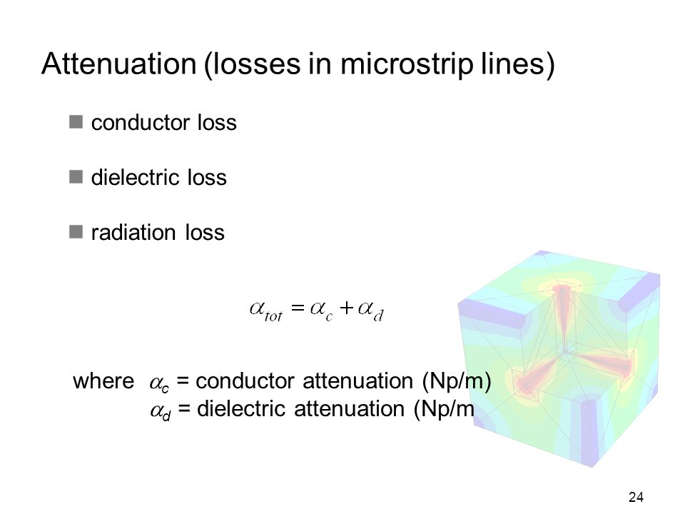 24 Attenuation (losses in microstrip lines) conductor loss dielectric loss radiation loss where c = conductor attenuation (Np/m) d = dielectric attenu