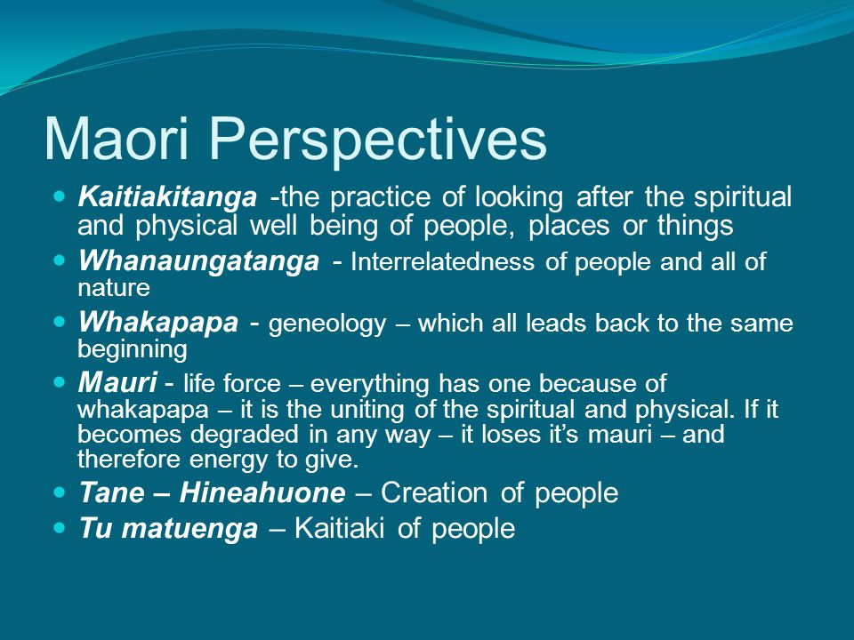 Maori Perspectives Kaitiakitanga -the practice of looking after the spiritual and physical well being of people, places or things Whanaungatanga - Interrelatedness of people and all of nature Whakapapa - geneology – which all leads back to the same beginning Mauri - life force – everything has one because of whakapapa – it is the uniting of the spiritual and physical.