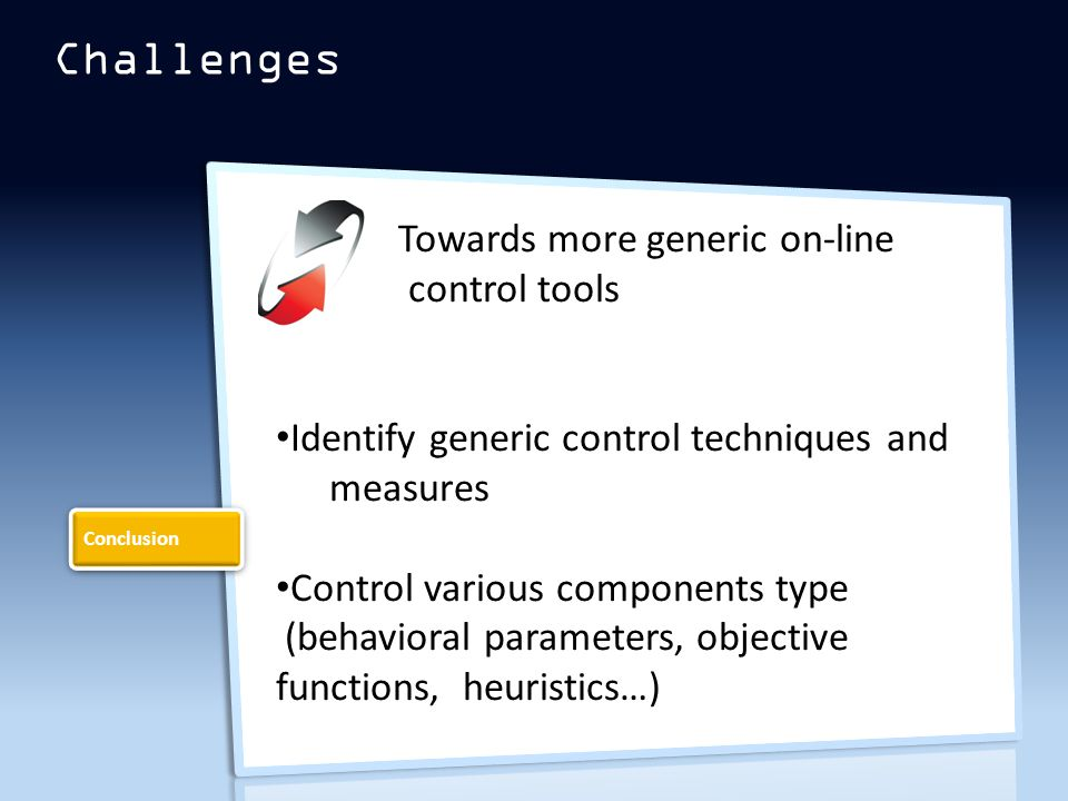 Challenges Towards more generic on-line control tools Identify generic control techniques and measures Control various components type (behavioral parameters, objective functions, heuristics…) Conclusion