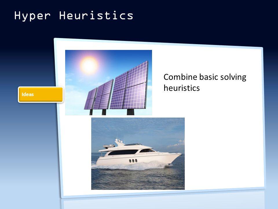 Hyper Heuristics Ideas Combine basic solving heuristics