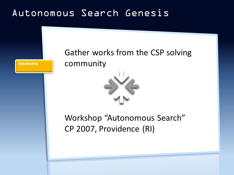 Autonomous Search Genesis Taxonomy Gather works from the CSP solving community Workshop Autonomous Search CP 2007, Providence (RI)