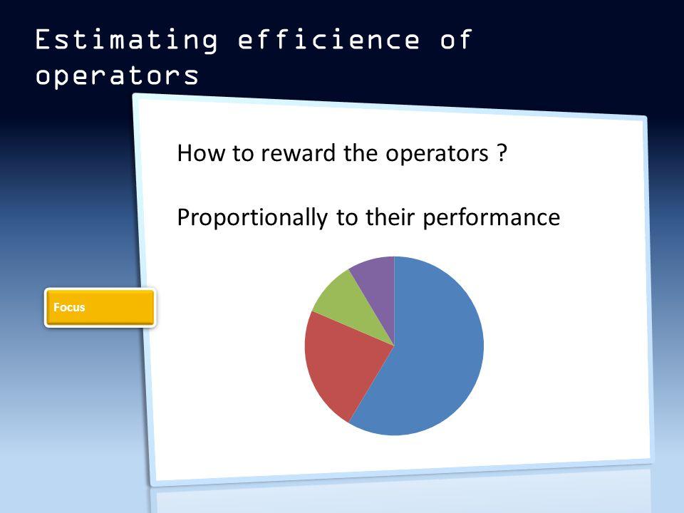 Estimating efficience of operators How to reward the operators .