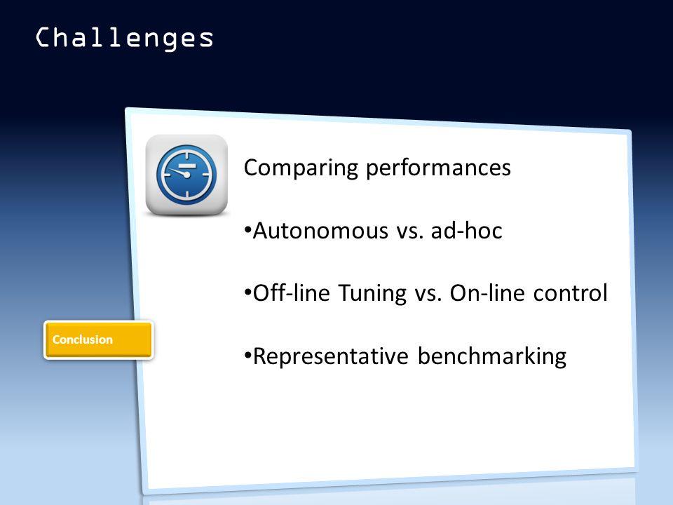 Challenges Comparing performances Autonomous vs. ad-hoc Off-line Tuning vs.