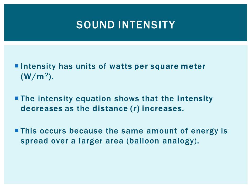 Intensity has units of watts per square meter (W/m 2 ).