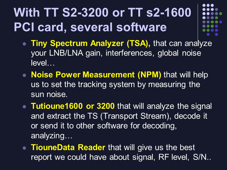Measuring Signal to Noise There are 5 main Signal to Noise measurements in common use: 1.