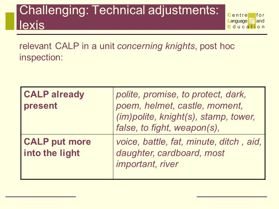 Challenging: Technical adjustments: lexis relevant CALP in a unit concerning knights, post hoc inspection: CALP already present polite, promise, to protect, dark, poem, helmet, castle, moment, (im)polite, knight(s), stamp, tower, false, to fight, weapon(s), CALP put more into the light voice, battle, fat, minute, ditch, aid, daughter, cardboard, most important, river