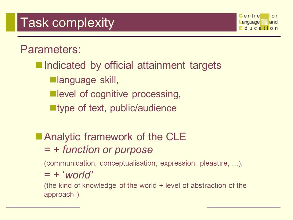 Task complexity Parameters: Indicated by official attainment targets language skill, level of cognitive processing, type of text, public/audience Anal