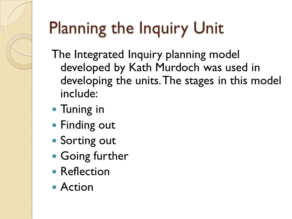Planning the Inquiry Unit The Integrated Inquiry planning model developed by Kath Murdoch was used in developing the units. The stages in this model i