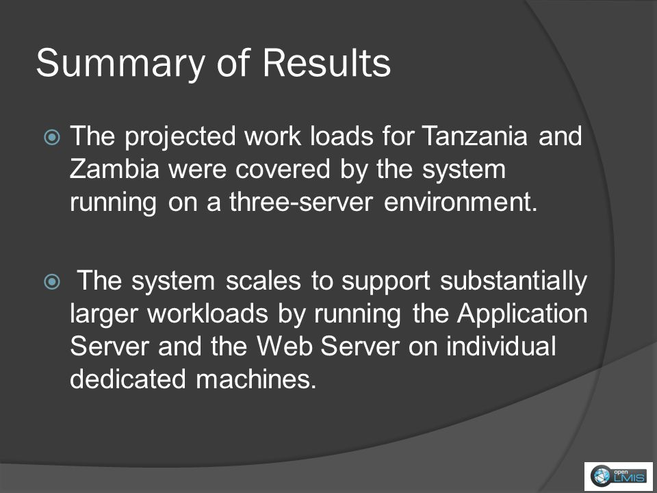 Summary of Results The projected work loads for Tanzania and Zambia were covered by the system running on a three-server environment.