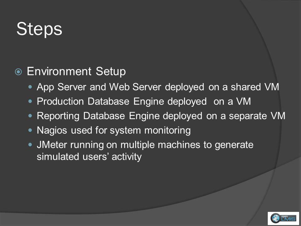 Steps Environment Setup App Server and Web Server deployed on a shared VM Production Database Engine deployed on a VM Reporting Database Engine deployed on a separate VM Nagios used for system monitoring JMeter running on multiple machines to generate simulated users activity
