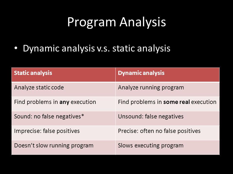 Program Analysis Dynamic analysis v.s.