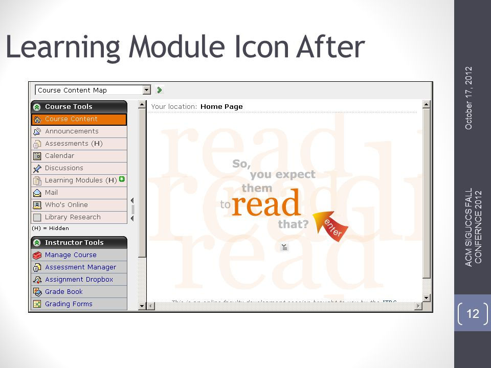 Learning Module Icon After October 17, 2012 ACM SIGUCCS FALL CONFERNCE