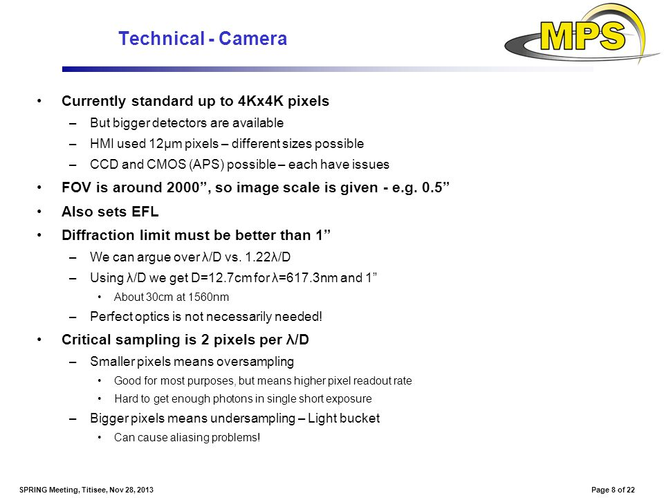 Page 8 of 22SPRING Meeting, Titisee, Nov 28, 2013 Technical - Camera Currently standard up to 4Kx4K pixels –But bigger detectors are available –HMI us