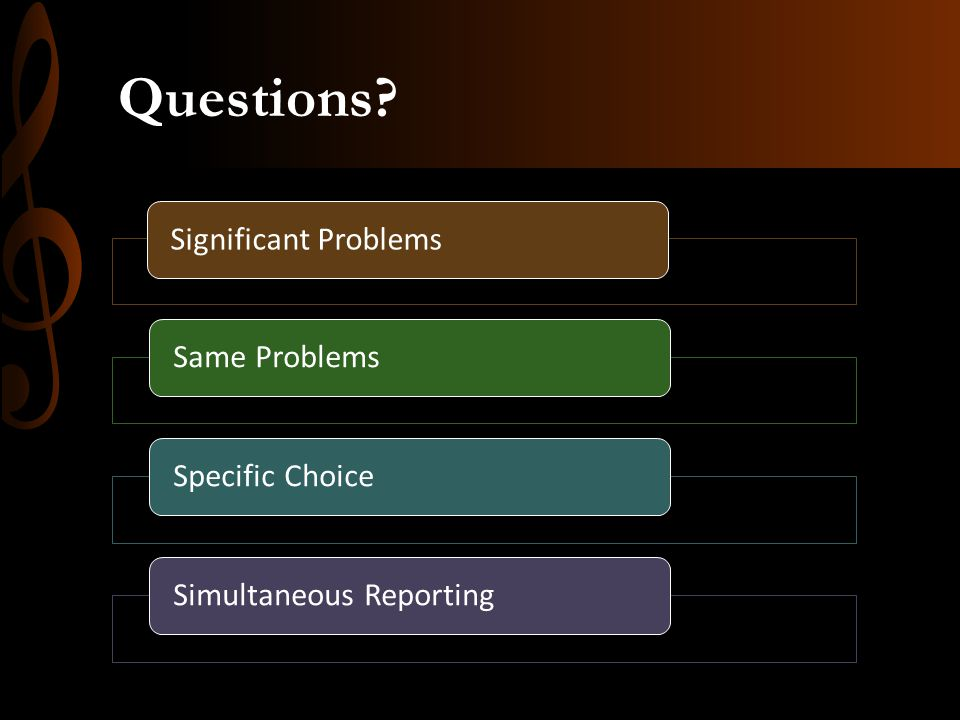 Questions? Significant ProblemsSame ProblemsSpecific ChoiceSimultaneous Reporting
