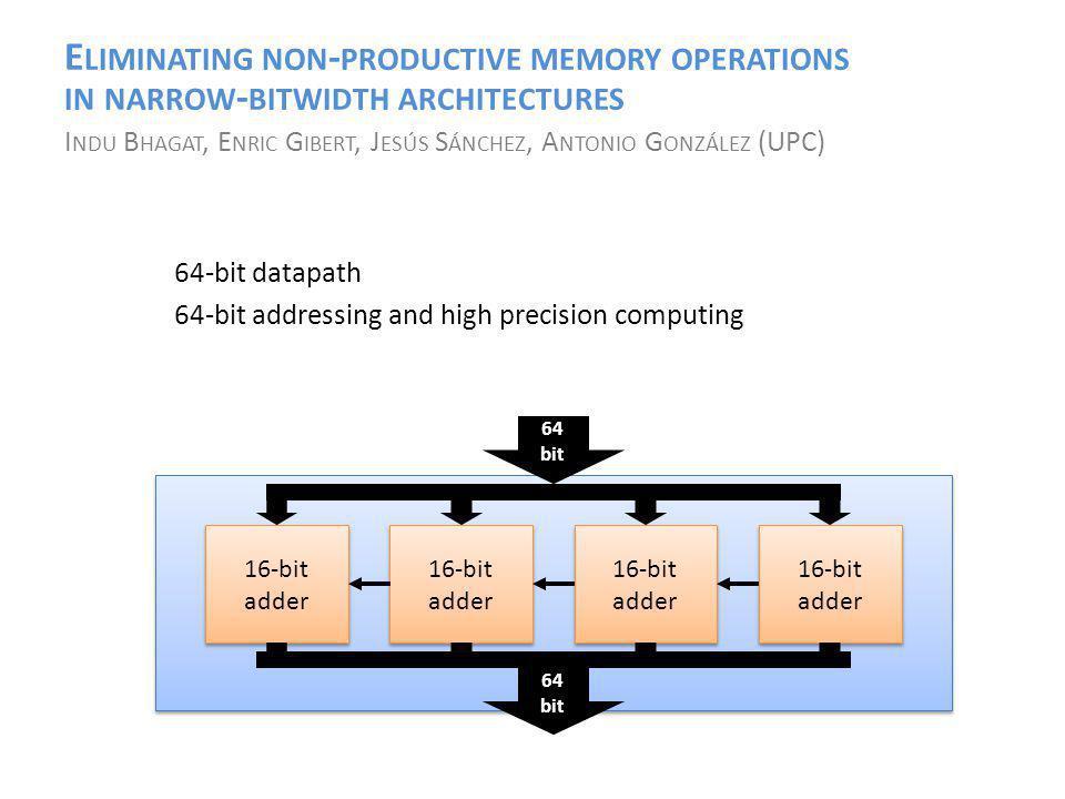 E LIMINATING NON - PRODUCTIVE MEMORY OPERATIONS IN NARROW - BITWIDTH ARCHITECTURES I NDU B HAGAT, E NRIC G IBERT, J ESÚS S ÁNCHEZ, A NTONIO G ONZÁLEZ (UPC) 64-bit datapath 64-bit addressing and high precision computing 16-bit adder 64 bit 64 bit